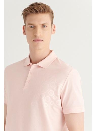 Avva AVVA Erkek Pembe Polo Yaka Pano Baskılı T-Shirt A11Y1149 Pembe